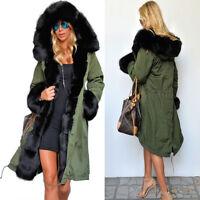 Roiii New Women Winter Warm Thick Hood Faux Fur Coat Parka Long Jacket Size 8-20