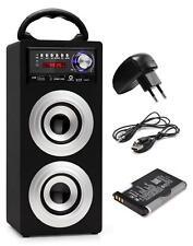 Mobil Bluetooth Lautsprecher USB SD Aux MP3 Player Sound Silber Netzteil Set