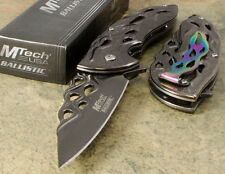NEW! Mtech Stonewash Gray Flame Laser-Cut Fantasy Spring-Assist Folding Knife