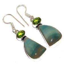 "Silver Plated Earrings 1.9"" Mm-40939 Botswana Agate 925"