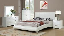 NEW MODERN 4PC LUCERNE WHITE BYCAST LEATHER WOOD QUEEN SIZE PLATFORM BEDROOM SET
