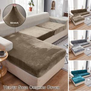 1-4 Sitzer Samt Sofabezug Sofahusse Stretch Couchbezug Abdeckung Für Ecksofa DE
