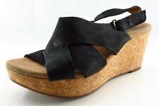 Clarks Size 7.5 W Black Slingback Leather Women Sandal Shoes