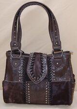 Trinity Ranch Western Hair on Hide Brown Leather Medium Handbag CCW Pocket