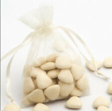 IVORY Luxury ORGANZA Favour Bags x10 Pieces - Wedding Gift Pouches - 12x17cm