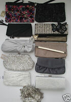 BN MONSOON DRESS CLUTCH BAG 3D FLORAL SEQUIN DIAMANTE FLAPPER BLACK GOLD SILVER