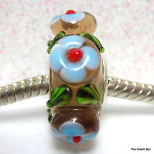 'WAIKIKI-Clear Brown/Blue Flowers Holiday  Murano Glass European Bead-S'gle Core