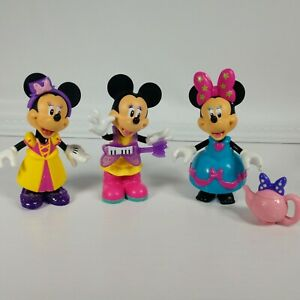 Disney Mattel Minnie Mouse Boutique Dress Up Dolls Snap Clothes Bow Shoes Teapot