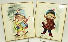 Vtg Art Children's Decor Wood Picture Prints Summer Girl Winter Gallarda 1960's