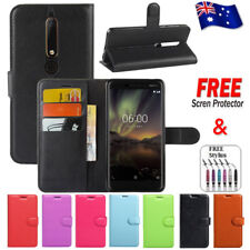 Wallet Leather Card Holder Flip PU Case Cover For Nokia 6 2018 + FREE Protector