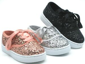 Baby Toddler Girls Glitter Lace Up Fashion Shoes Casual Sneakers Sz 6 -11
