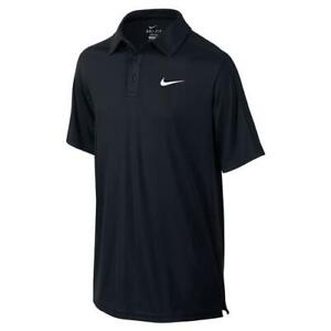 NIKE Youth TEAM COURT 3 Button Black Dri Fit Polo 642071 YOUTH SMALL