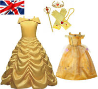 Girls Belle Fancy Dress Up Beauty and the Beast Kids Child Halloween Costume Hot