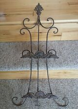 """VTG Ornate Wrought Iron Double Display Stand Victorian Metal Tripod Easle 25"""""""