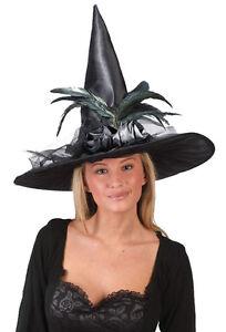Deluxe Witch Hat - Black - Halloween Harry Potter fancy dress WICKED west end