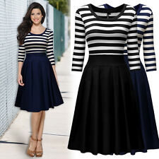 Womens Summer Casual Party Cocktail Prom Striped Business Workwear Swing Dress