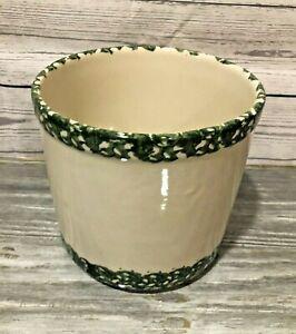 Henn Workshops Spongeware 2 Quart Crock Ivory / Green Stoneware Roseville USA