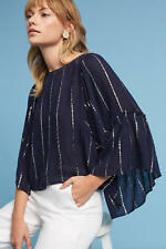 161245 New Floreat Anthropologie Emelyn Striped Bell-Sleeved Navy Blouse Top XS