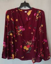 Women's Flowing Long Sleeve Burgundy Floral Old Navy Blouse Size Medium