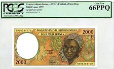 MONEY CENTRAL AFRICAN REPUBLIC 2000 FRANCS 1999  GEM UNC PICK #303Ff  VALUE $144