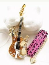 Betsey Johnson Necklace GUITAR MUSCIAN Gold Carmel  Pearl Guitar Electric