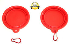 PET BOWL FOR CATS AND DOGS 2 PIECES IDEAL FOR TRAVEL  RED COLLAPSIBLE *NEW*