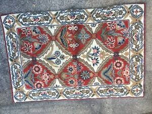 vintage Hand Made Embroidered Throw Rug Red Floral Gorgeous