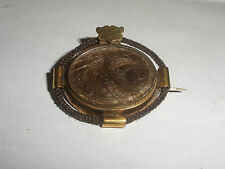 Antique Victorian 14k Gold baby Hair Brooch Pin Mourning jewelry