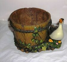Resin Planter Goose at Wooden Water Barrel