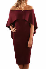 Off the shoulder batwing cape midi dress party evening Size UK 10