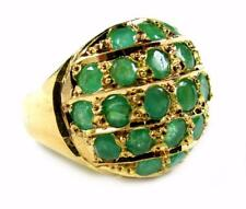 Estate Women Cocktail Dome 3.5CT Natural Emerald Ring 14K Yellow Gold 9.8g