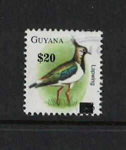 Guyana Scott 4020P $20 Printed Provisional Surcharge on $6 Lapwing Definitive