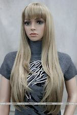 Excellent Brown Blonde Mixed Long Straight bangs Women Ladies Daily wig FYTLC139