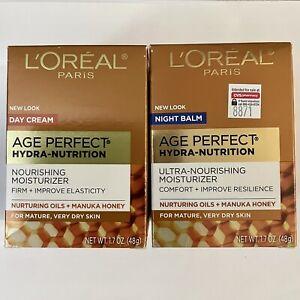 L'oreal Paris Age Perfect Hydra-Nutrition Day Cream Night Balm Moisturizer Set