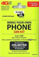 Straight Talk SIM Card Network Activation Kit Verizon, AT&T, T-Mobile Compatible