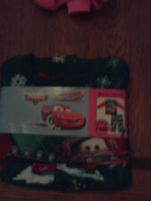 NWT Disney/Pixar Cars boy 2pc flannel sleep set; green w/red sleeves; size 18m
