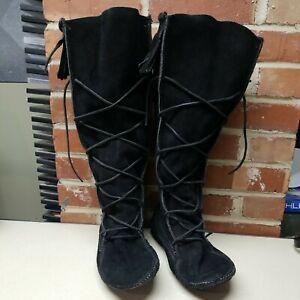 Minnetonka Black Suede Fringe Lace-Up Knee High Boots Moccasins Men's sz 13 VTG