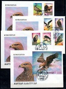 Kirgisien 74/80 und Block 11 A  FDC Greifvögel (3570)
