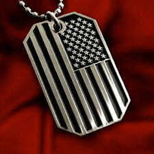 "US FLAG PENDANT NECKLACE BNW DOG TAG ARMY BALL CHAIN 28"" NICKEL FREE METAL USA"