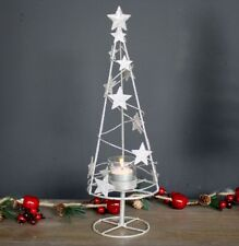 Shabby Chic Style Glittery Silver Star Christmas Tree Tealight Candle Holder