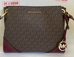Michael Kors Nicole Large Leather MK Logo Crossbody Messenger Bag