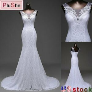 Women Lace Wedding Dress O Neck Sleeveless Beach Mermaid Gown Bride Dresses US