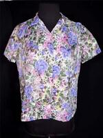 PLUS VINTAGE 1950'S-1960'S FRENCH MUTED FLORAL PRINT NYLON BLOUSE SIZE 40-42