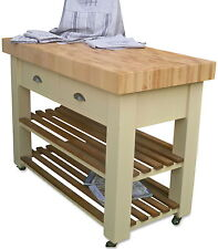Butchers Block (bloc) Island (trolly) beech and hand painted optional castors