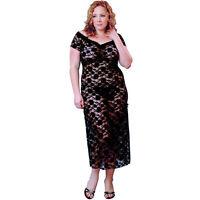 Plus Size Lingerie Sizes 1X 2X 3X 4X 5X 6X  Black Lace Long Gown  VX6057X