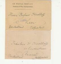2 Postkarten für Kriegsgefangene 1917 sehr selten! (B00083)