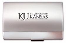 new! KU ENGRAVED SILVER BUSINESS CARD CASE HOLDER University of Kansas Jayhawks