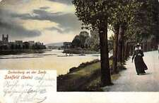 Saalfeld Germany Woman Walking Lake Front Road Antique Postcards K17468