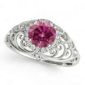 0.54 Ct Fancy Pink Purple Diamond Halo Ring 14k White Gold Valentineday Spl.Sale