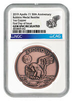 1969-2019 Apollo 11 Robbins Medals 1 oz Copper Medal NGC GEM Unc FDI SKU55305